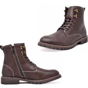 BRUNO Dark Brown Leather Lace-Up Work Boots Sz 13